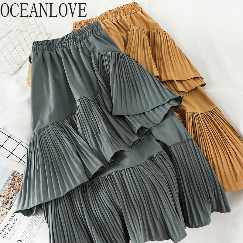 OCEANLOVE Ruffles Solid High Waist Skirts Women Korean Elegant All Match 2020 Long Skirt Pleated Spring Student Faldas 14701