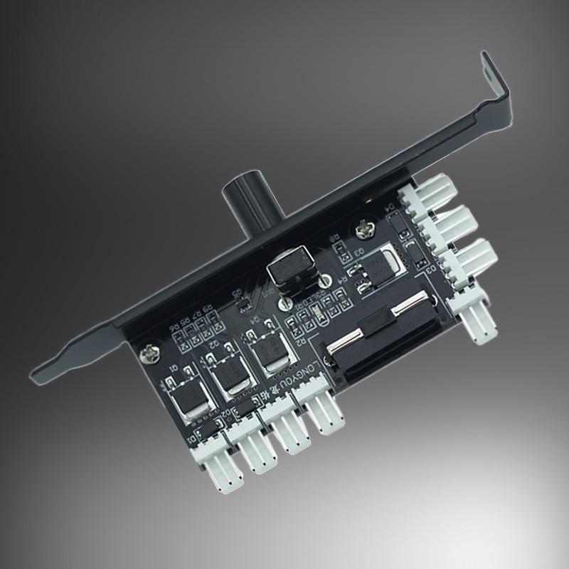 PC 8 Channels fan hub Cooling Fan Speed Controller for CPU Case HDD VGA PWM Fan w/ PCI Bracket Power by 12V 3pin/4pin Cooler fan|Fans & Cooling| |  - title=