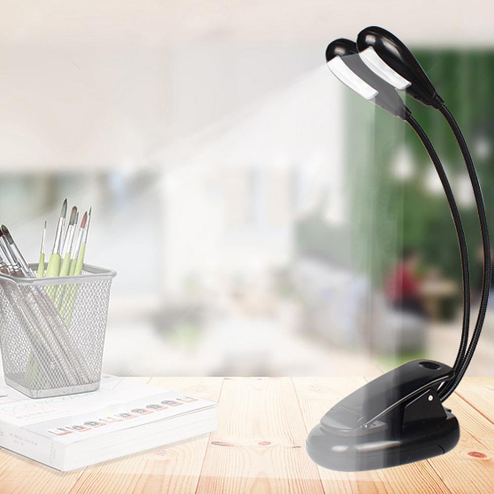 Перезаряжаемая лампа с Двойным Зажимом, 8 светодиодный светильник-книга для ухода за глазами, светильник-подставка для чтения с 2 гибкими уг...