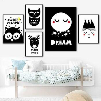 Arte de pared princesa chica ciervo Luna gatito negro blanco dibujos animados carteles nórdicos e impresiones cuadros de pared para niños habitación lienzo pintura