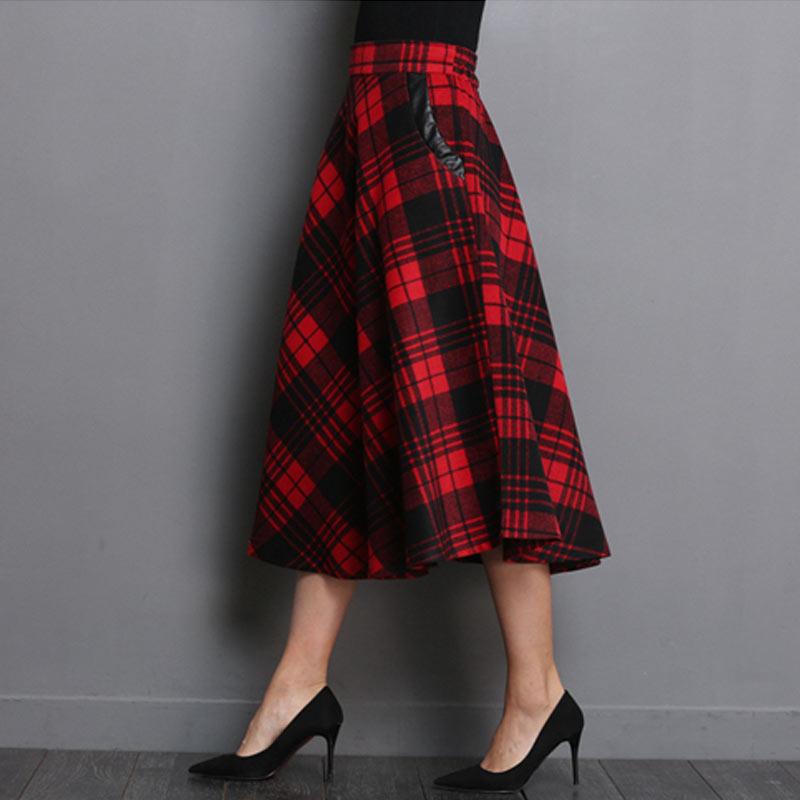 Autumn England Style Plaid High Waist Midi Skirts Woolen Plus Size 3XL A Line Pleated 2019 Winter Women Tartan Wool Skirts