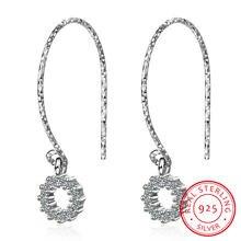 Женские круглые серьги подвески из серебра 925 пробы с фианитами