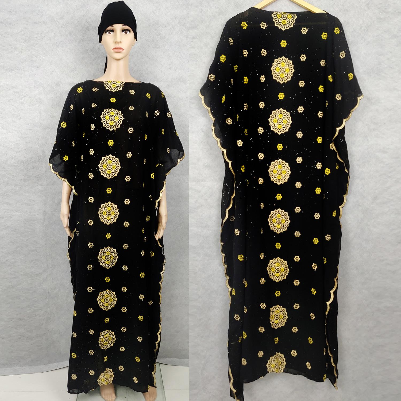 Africain Femme Kaftan Maxi Dress Abaya Dubai Dashiki Golden Embroidery Black Long Robe Islamic Africa Plus Size Clothing GH513