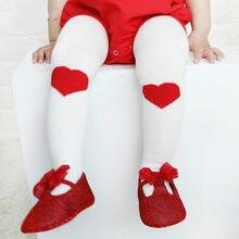 Mallas de algodón con corazón rojo para niños y niñas, primavera y otoño, nuevo estilo