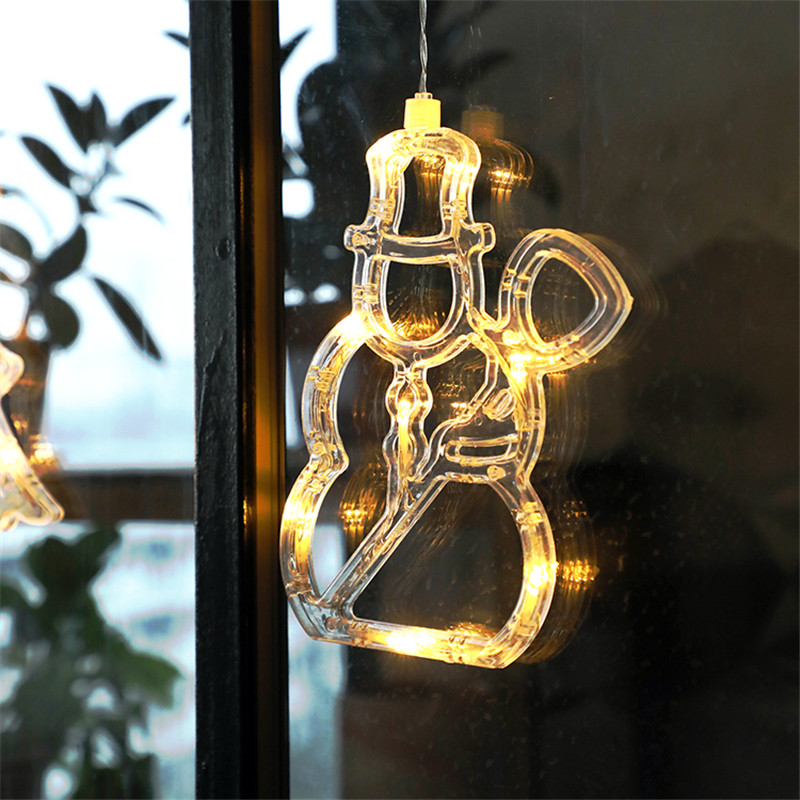 Led Christmas Bell Lights Star Snowman Window Sucker Light Decorative Battery Powered Holiday Xmas Window Light For Home Decor