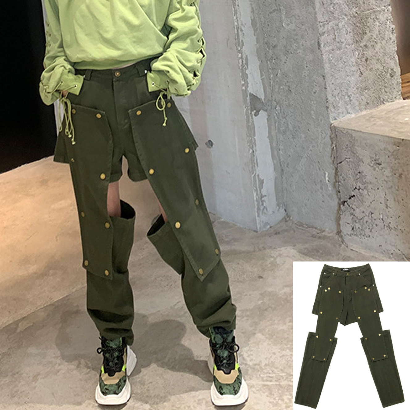 top quality retail prices cute Removable Button Hollow Sexy Camo Trouser Women Streetwear Cargo ...