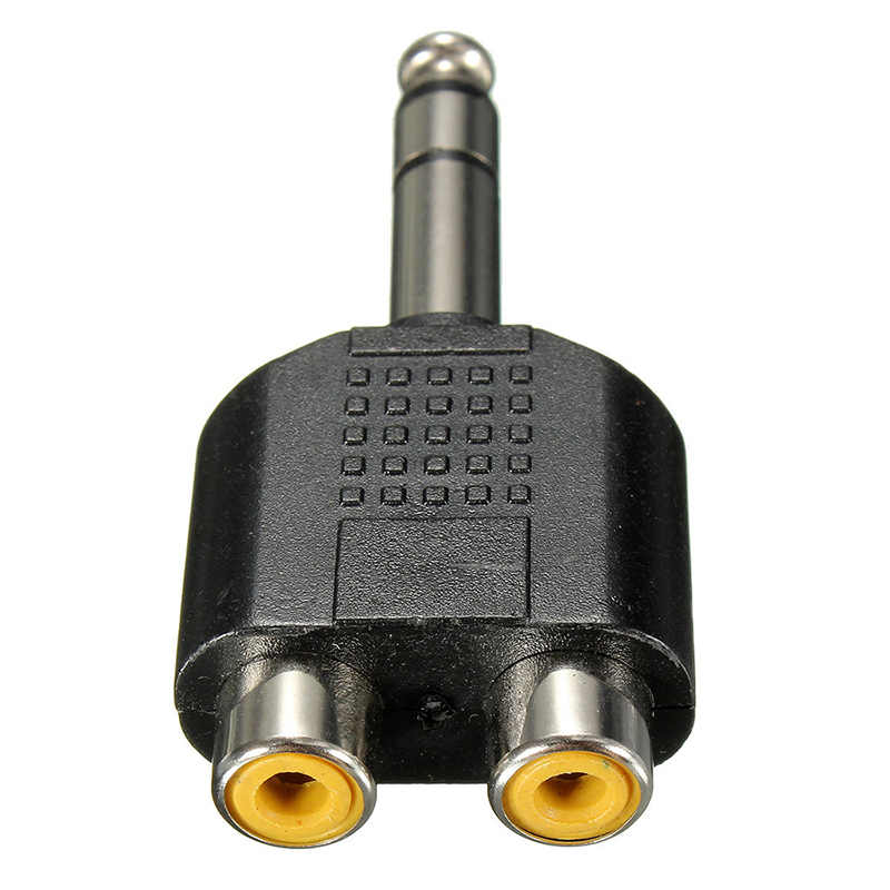 6.35mm 1/4 inç erkek Stereo 2 çift RCA kadın Y Splitter ses adaptörü dönüştürücü