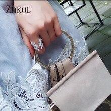 ZAKOL Европейский стиль белый цвет крыло Открытые Кольца ослепительный Кристалл Циркон модное кольцо на палец для женщин Свадебные украшения FSRP188