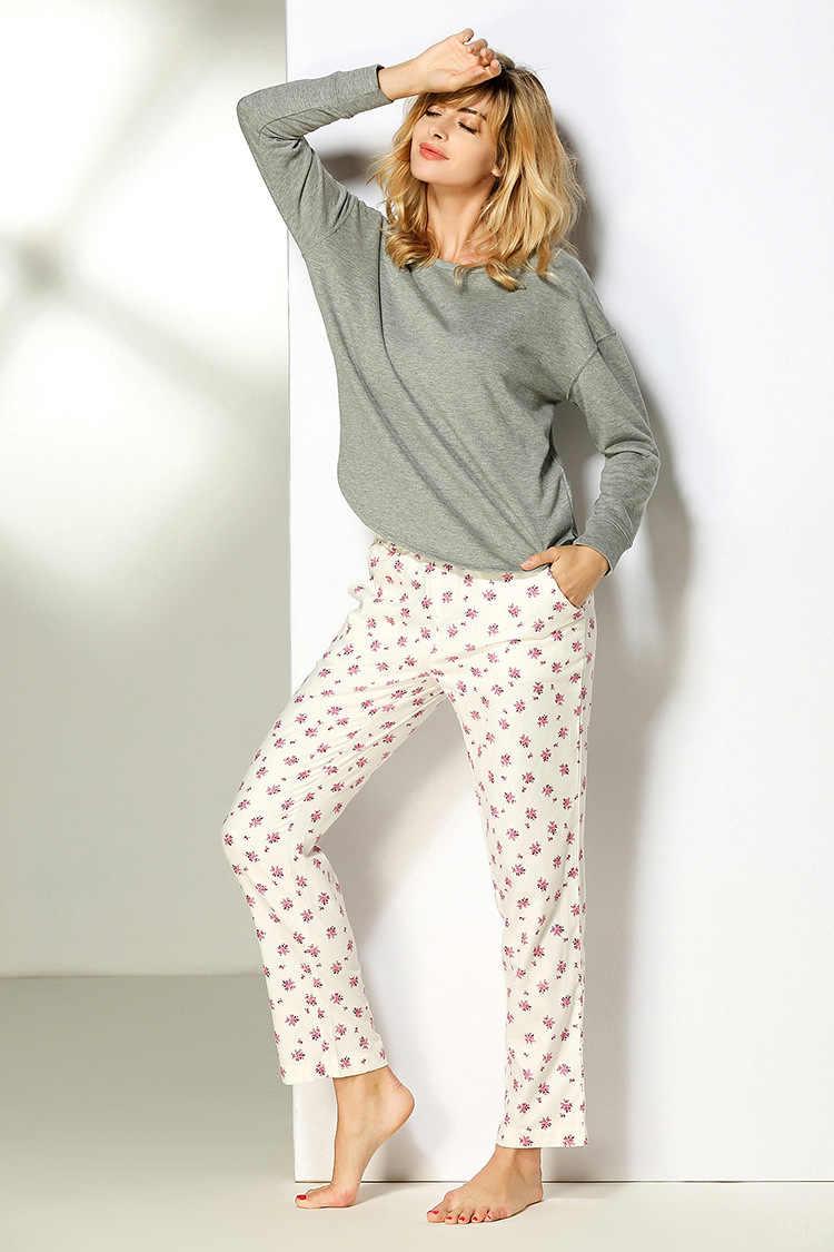 شحن مجاني. الشتاء العلامة التجارية المرأة النوم منامة ، القطن المتسكعون ، فام جودة لينة حجم كبير مجموعة ملابس النوم المنزلية.