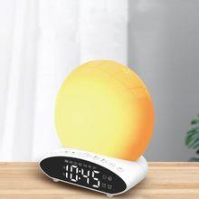 Proyección Digital LED reloj con luz de noche 7 simulación de sueño colorido amanecer y atardecer despertador fecha FM Radio música despertador
