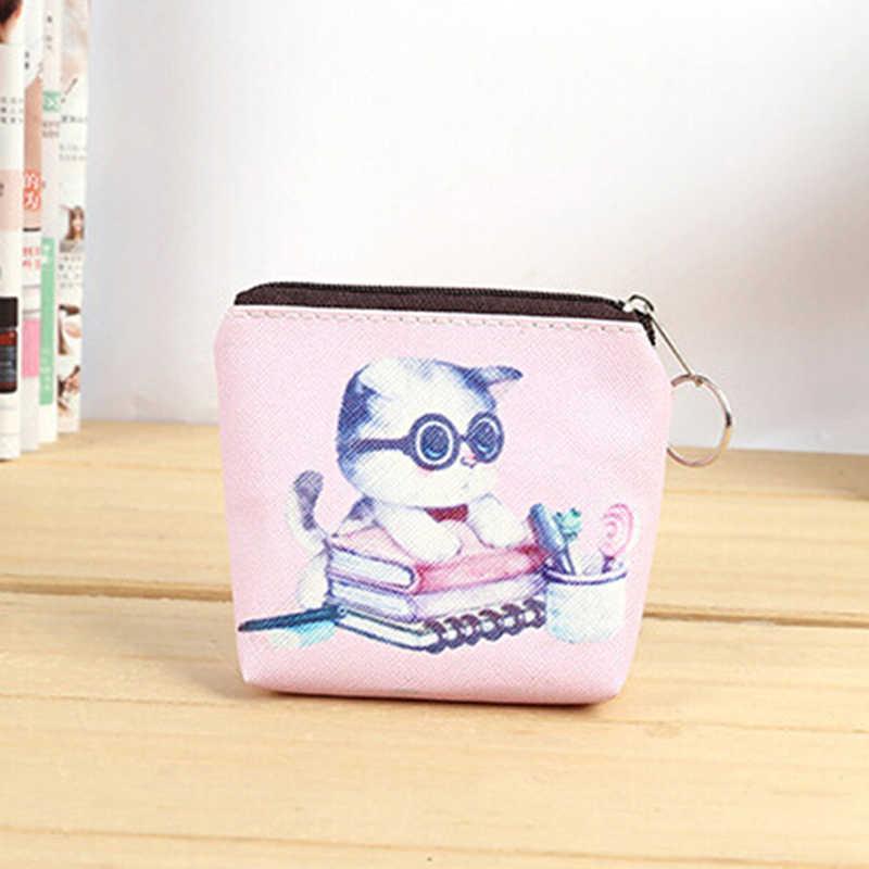 Hayvan kedi bozuk para çantaları tutucu kadınlar Mini PU değişim cüzdan kız çocuklar para çantası para çantası çocuk çocuklar fermuar küçük kese