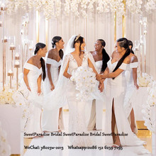 White Mermaid Long Bridesmaid Dresses With Side Split Off Th