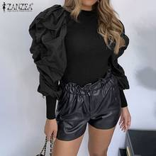 Blusas Top 2020 ZANZEA Frühling Lange Puff Sleeve Bluse Frauen Casual Patchwork Dünne Hemden Fashion Solid Party Pull Tunika Tops(China)