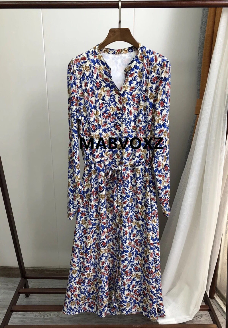 New Women Long Sleeve Long Dress Autumn Winter Flower Arabesque Print Runway Robe Single breasted Vintage Midi Dresses With Belt-in Dresses from Women's Clothing    1