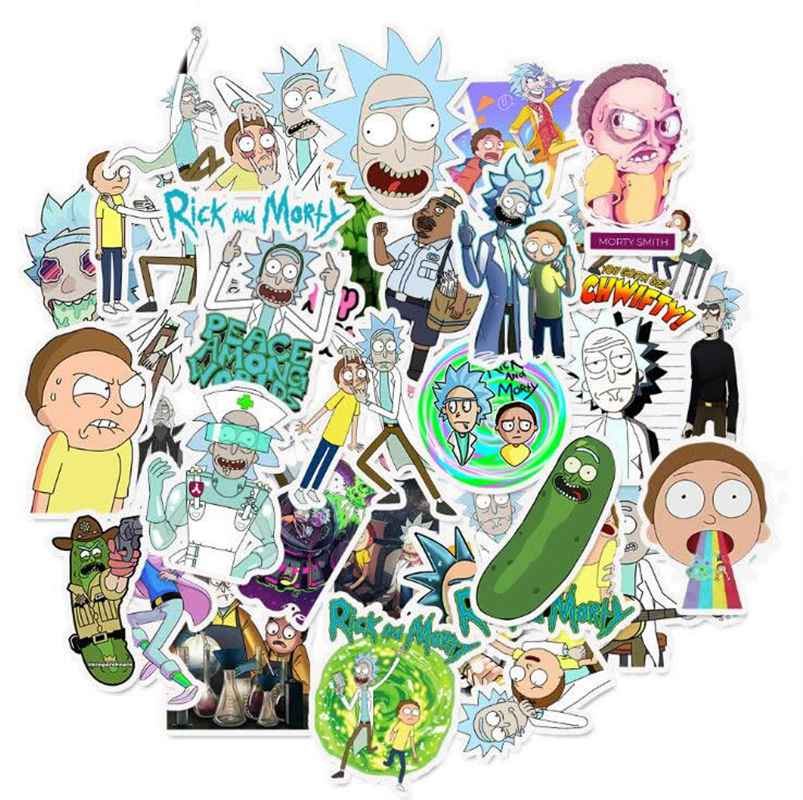18/35PCS/SET Personality Rick And Morty Anime Stickers Stranger Things PVC Waterproof Luggage Sticker On Travel Case Phone Decel