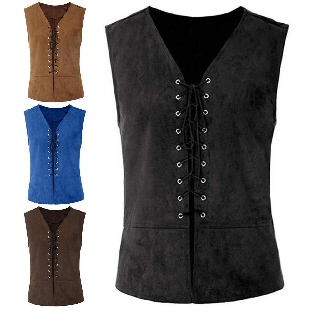 Jacket Men Gothic Punk Bandage Medieval Retro Vest Coat Sleeveless Work Fishing Jacket