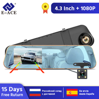 E ACE A10 Hot Full HD 1080P Car Dvr Camera Auto 4.3 Inch Rearview Mirror Digital Video Recorder Dual Lens Registratory Camcorder