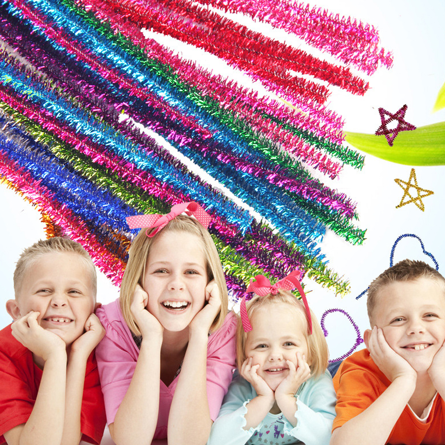 100pcs Glitter Chenille Stems Crafts Pipe Cleaners For Christmas Decorations DIY Handmade Project Supplies Random Colors