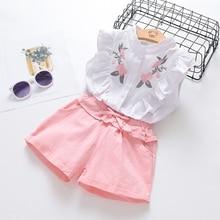 Children Clothing Shorts Girls Summer Kids Chiffon HALTER Floral Straw Embroidered