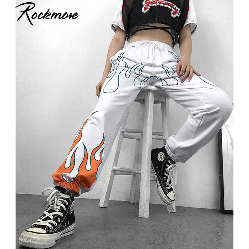 Rockmore Harajuku Pencil Pants Women Plus Size Fire Flame Print High Waist Joggers Streetwear Trousers Wide Leg SweatPants Femme