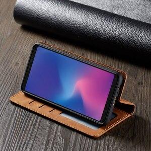 Image 2 - 삼성 전자 갤럭시 a6 2018 커버 지갑 카드에 대 한 럭셔리 자기 플립 가죽 전화 케이스 galaxya6 sm a600fn a600f SM A600F 보호