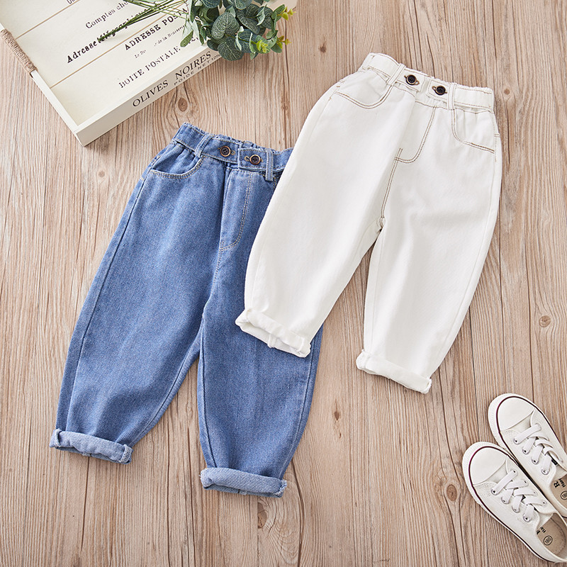 Girls Jeans Denim Pants Toddler White Infant Baby-Boys Kids Fashion Clothing Trousers title=