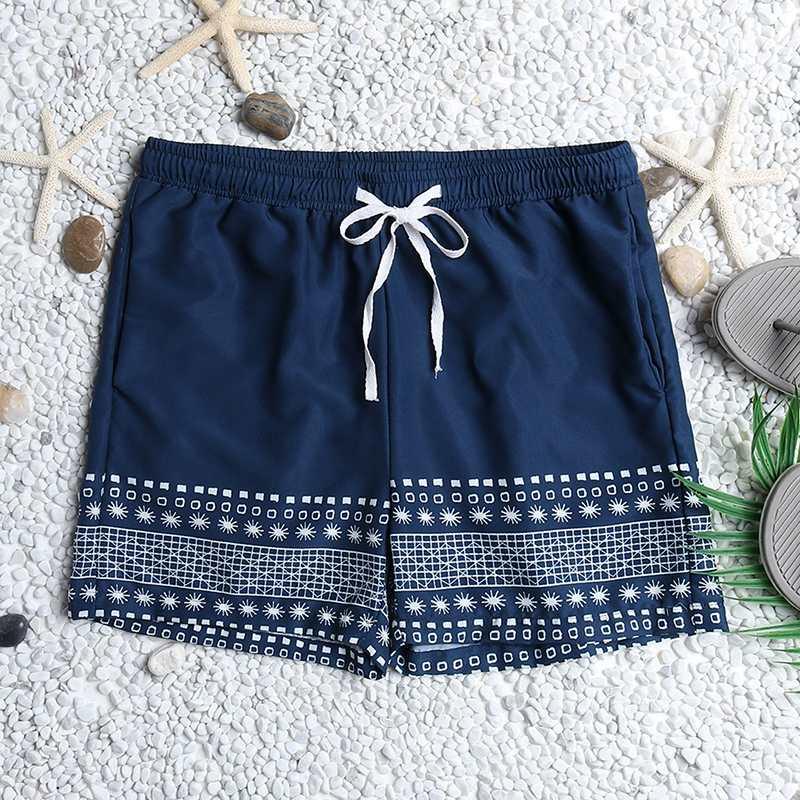 Shorts de Bordo dos Homens Verão Masculino Shorts Casuais Praia Férias Impressão Respirável Seaside Secagem Rápida Cordão Hombre 2020
