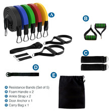 11pcs/Set Resistance Bands Core Strength Pull Rope Leg Body Fitness Exercises Yoga Latex Exerciser Boxing Training Workout Band