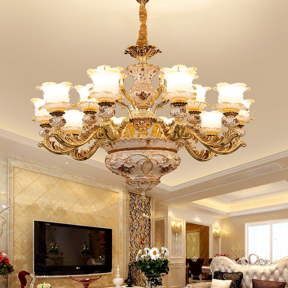 Luxury European Style Chandeliers Living Room Lamp Villa Lighting Hotel Lobby French Chandelier Flower Clear Glass Lampshade LED in Chandeliers from Lights Lighting