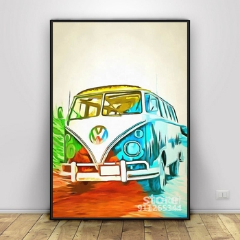VW Bus Pop Art 5 Posters And Prints Art Pictures On Oil Canvas Wall Painting For Living Room image
