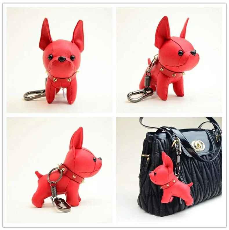 Mini Bulldog yavru anahtarlıklar suni deri bebek anahtarlık yüzük asılı kolye anahtarlık Charm çanta dekor araba biblo Punk Chaveiros