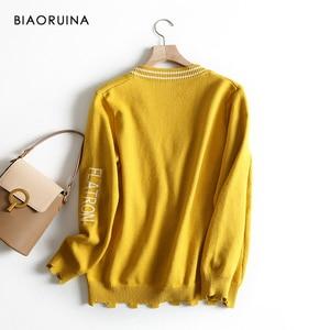 Image 2 - BIAORUINA 女性の韓国風の手紙ストライプジャカードカジュアルカーディガン女性シングルブレストファッションニットセーター