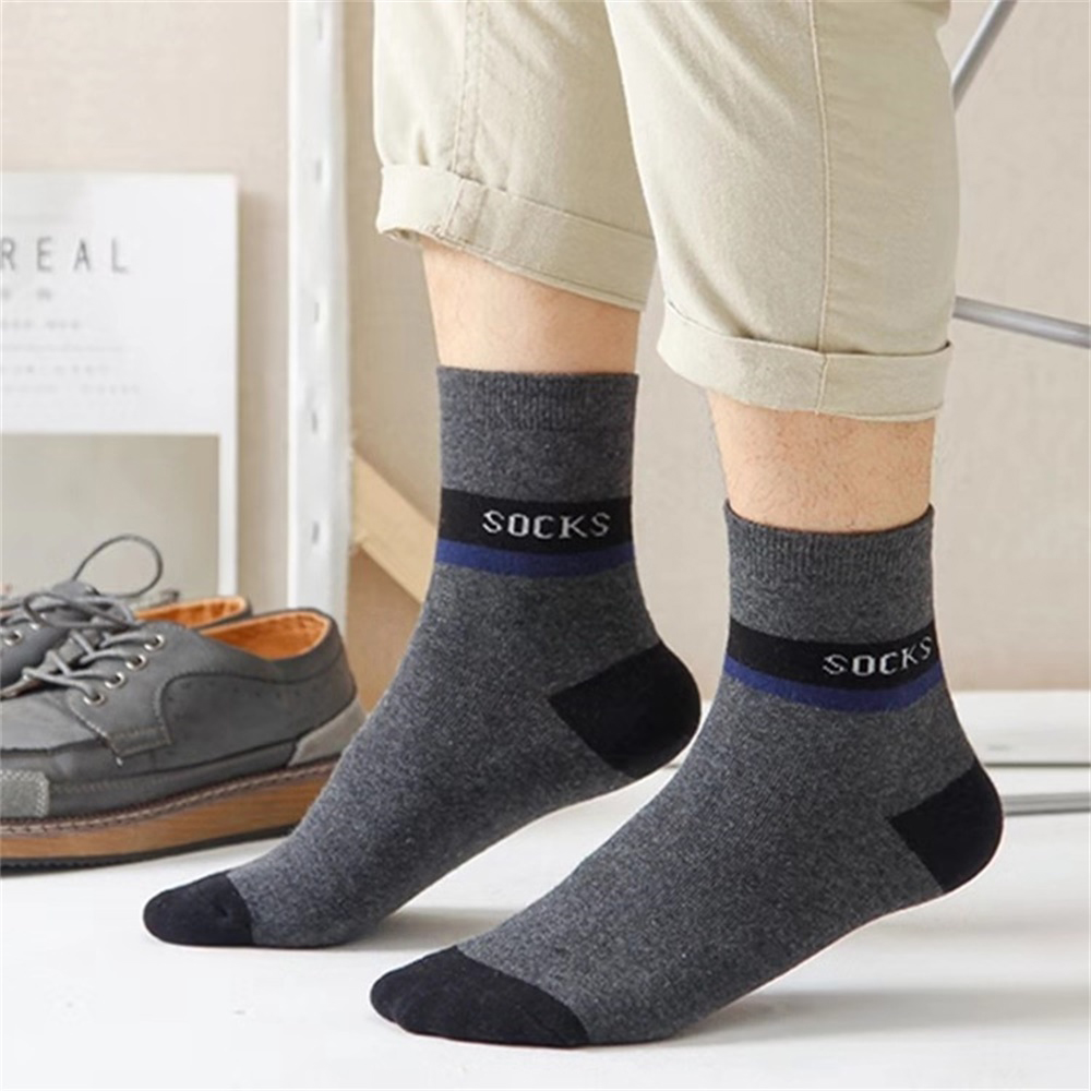 New Men Socks Cotton Blend Sweat-Absorbent Warm Adult Male Socks Casual Solid Color Outdoor Sports Breathable Tube Cotton Socks