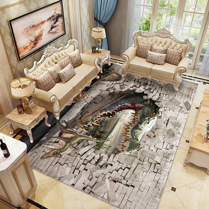 Nordic 3D ไดโนเสาร์พรมเด็กห้องนั่งเล่นโซฟาห้องนอนเด็กเล่นเสื่อการ์ตูน Parlor ขนาดใหญ่พรมประตูห้องโถงประตูที่กำหนดเอง