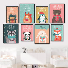 Raccoon Squirrel Panda Hedgehog Rabbit Star Wall Art Canvas Painting Nordic Posters And Prints Wall Pictures Kids Room Decor