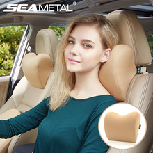 2pcs /1pc Car Headrest Neck Pillow For Seat Chair In Auto Memory Foam Cotton Cushion Fabric Cover Soft Head Rest Travel Support