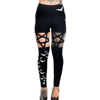 Creative Novelty Women Pants Hollow Out Pentagram Pencil Black Pantalones Mujer Slim Casual Female Stretch Trousers