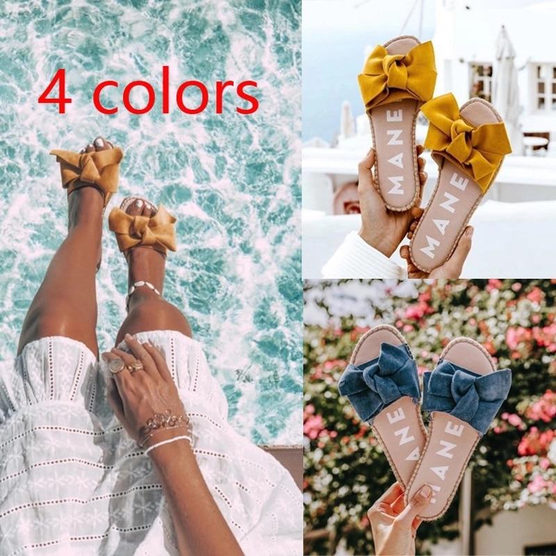 2020 Bohemian Slippers Women Beach Sweet Flat Bowknot Shoes Sun Slippers Outdoor Female Flip Flops Woman Summer Vacation Slipper