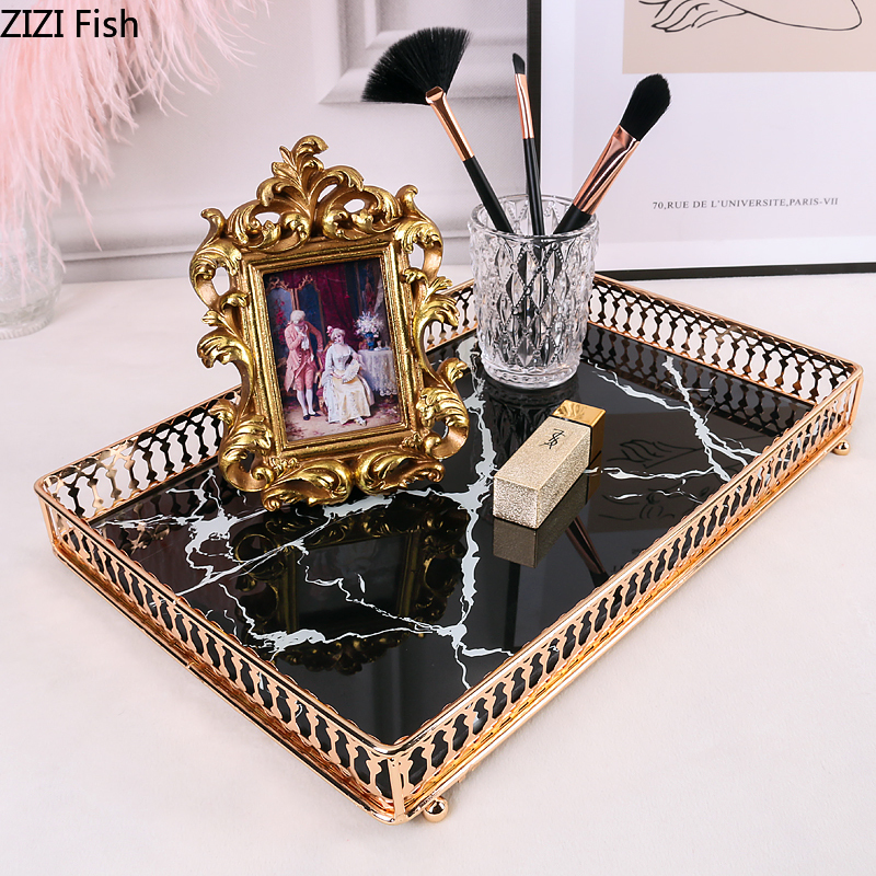 Square Trays Decorative Marble Agate Texture Tempered Glass Mirror