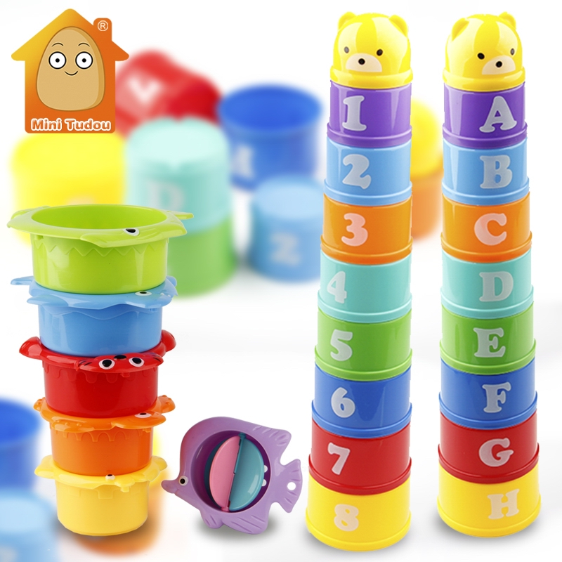 Stack Cup Educational Baby Toys Rainbow Color Figures Folding Tower Funny Puzzle Piles Stacking Cup Letter Toy Kids Water Toys