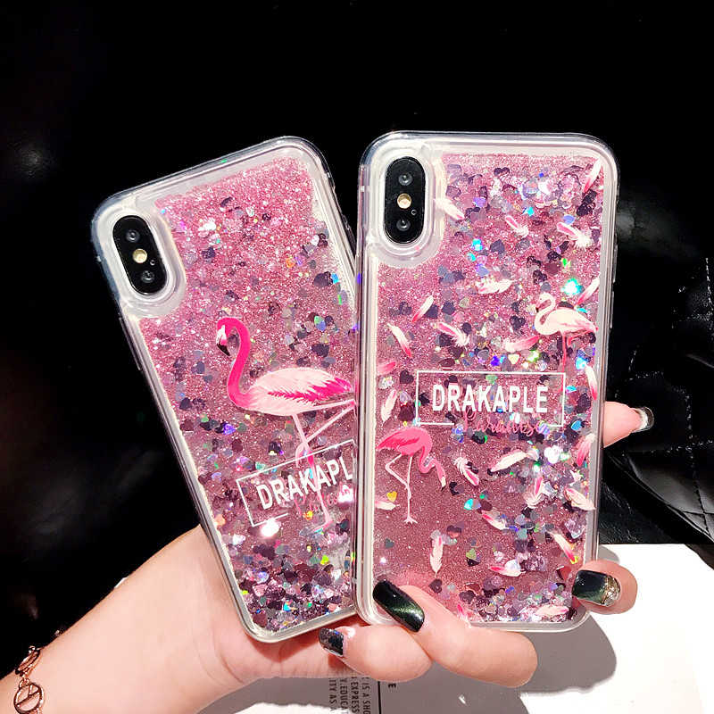 Flamingo Glitter <font><b>Phone</b></font> Case For <font><b>OPPO</b></font> Reno Z 10X zoom <font><b>Realme</b></font> 3 Pro <font><b>X</b></font> K3 F9 A7X F11 A9 Pro Quicksand Protective Back Cover Case image