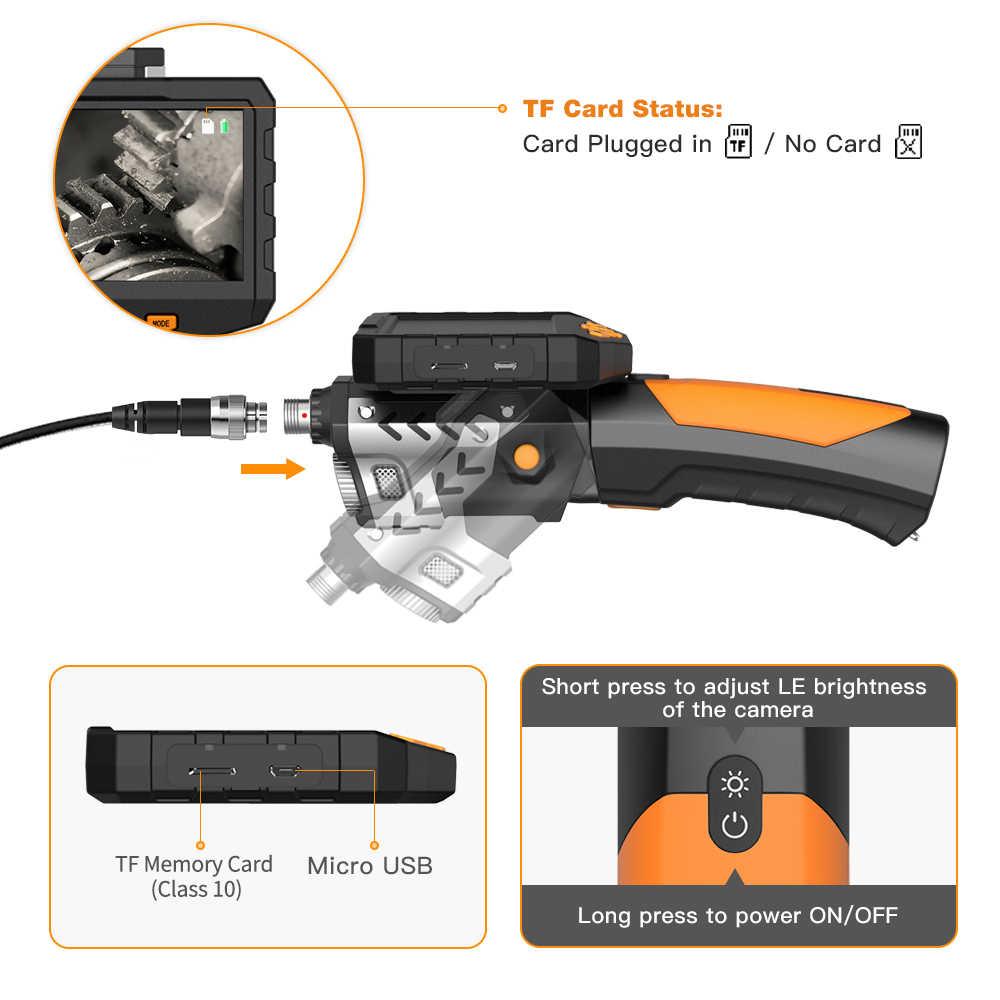 المنظار الصناعي Borescope التفتيش الكاميرا مع أنبوب شبه جامدة 2600mAh بطارية 4.5 بوصة HD عرض كاميرا منظار فحص