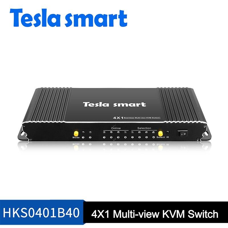 Tesla Smart KVM commutateur 4x1 4 ports sans soudure KVM commutateur USB 2.0 jusqu'à 1080P haute qualité pris en charge OS Unix/Windows/Debian