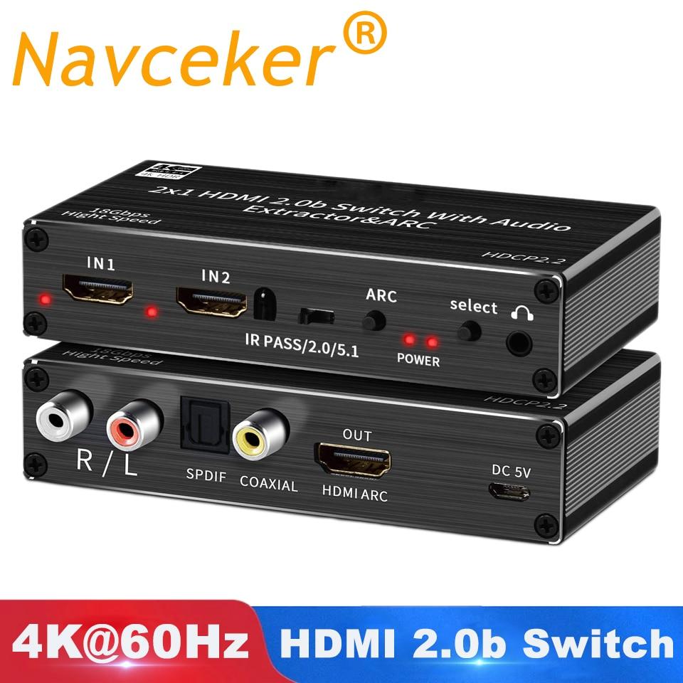 Extrator de Áudio com Arco Remoto para Apple Mini Interruptor Hdmi & Óptico Toslink 2.0 60 hz Switcher tv Ps4 2×1 4 k