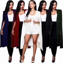 Women Cloak Cape Long Blazer Coat Fashion Black White Personality Notched Neck L