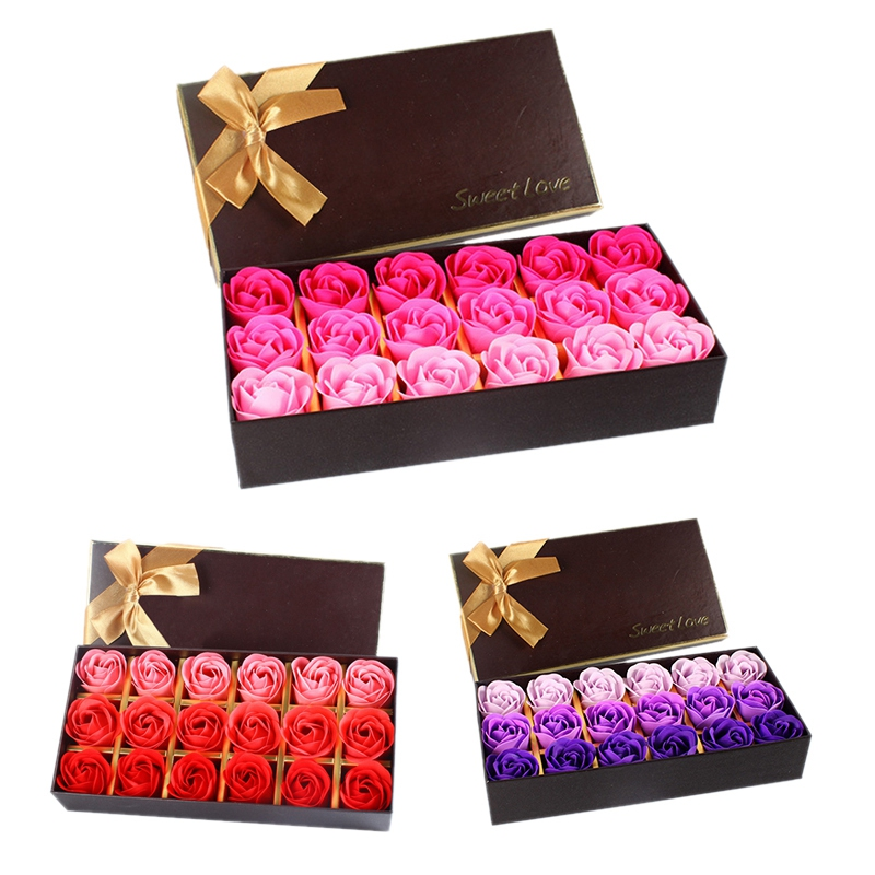54Pcs Creative Gradient Simulation Rose Soap Flower Red & Purple & Rose Red