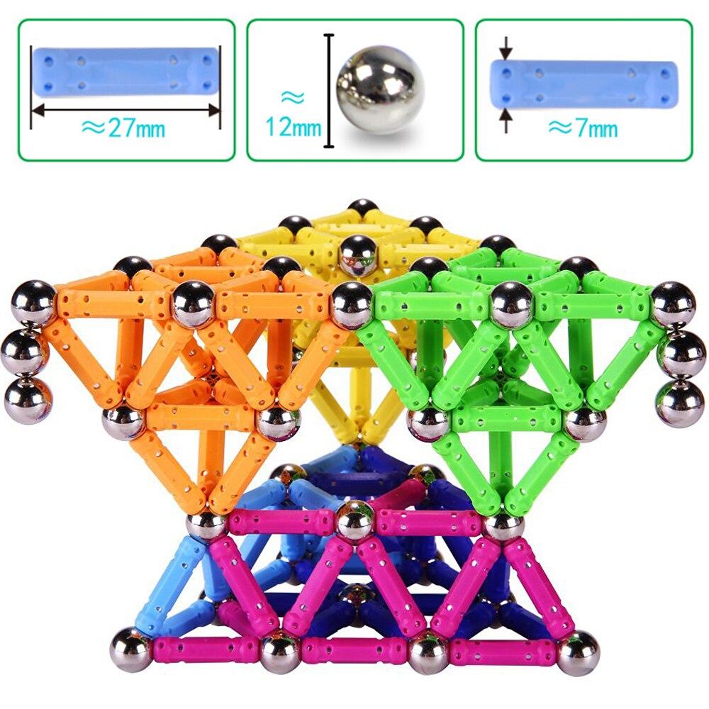 157 pièces blocs magnétiques concepteur Construction aimant barres métal balles jouets éducatifs pour enfants enfants cadeau