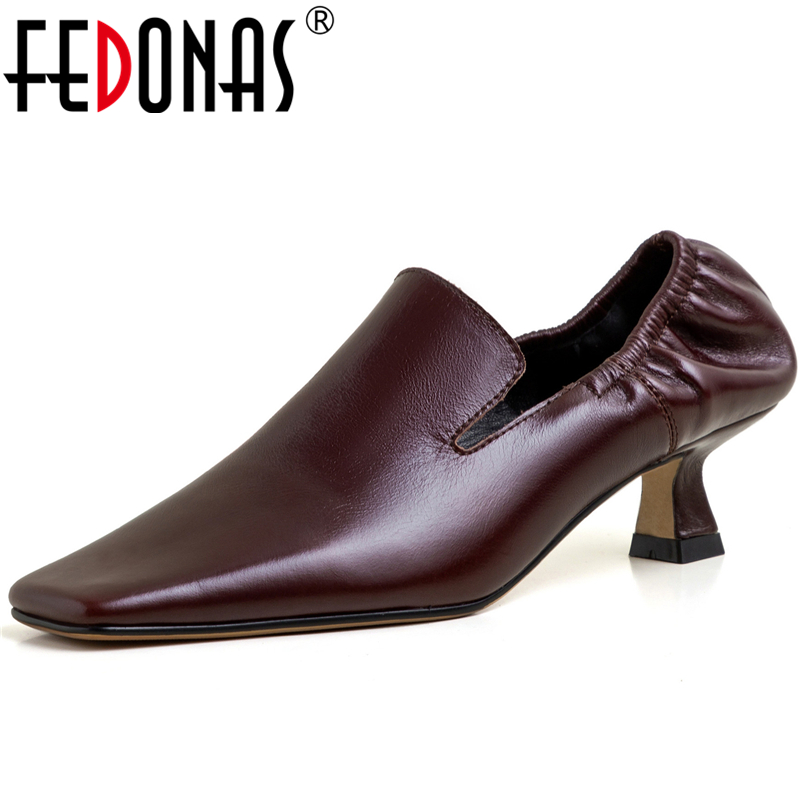 FEDONAS Euro Style Top Quality Square Toe Women Cow Patent Leather Pleated Pumps Retro Mature Concise Casual Shoes Shoes Woman