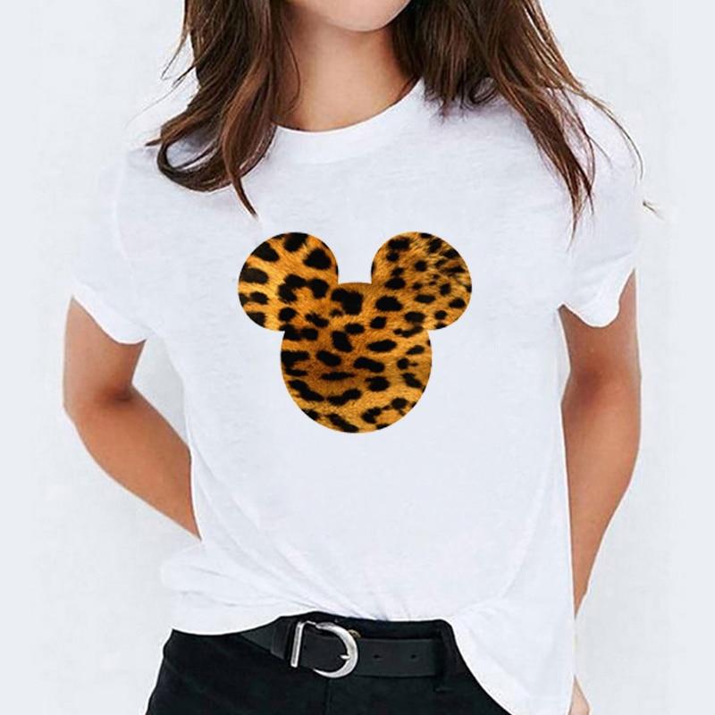 Women Print Bow Leopard Love Ear Fashion Cartoon Lady Womens T-Shirt  Graphic Tees Print Female Camisas Mujer T Shirt T-shirts