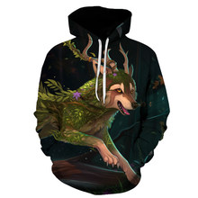 2019 Newest autumn men hoodies Forest guardian wolf printing sweatshirt pullover Men Women casual long-sleeved pocket sportswear(China)